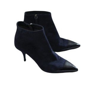 Tabitha Simmons Blue Suede Cap Toe Ankle Booties